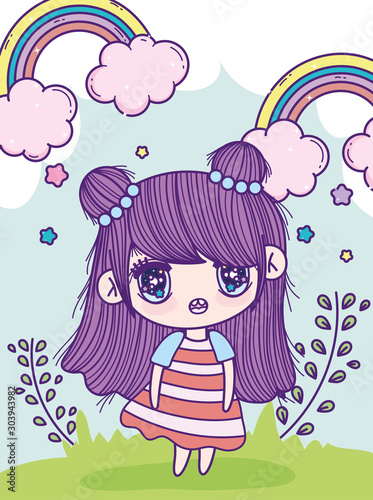anime cute girl bun hair rainbows leaves meadow