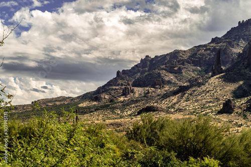 Superstision Mountain landscape from the Lost Dutchman Park, Arizona