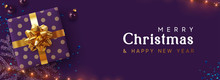 Holiday Background Merry Christmas, Happy New Year. Xmas Design With Realistic Festive Objects, Sparkling Lights Garland, Purple Gift Box, Lilac Ball Bauble, Glitter Violet Confetti. Horizontal Banner