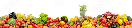 Fototapety, obrazy: Useful fruits and vegetables isolated on white background.