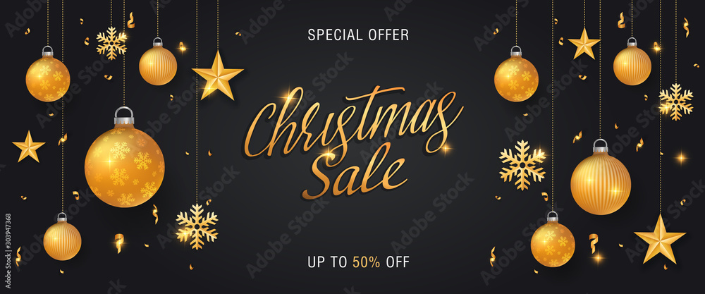 Fototapeta Christmas sale black background banner or web header with glitter gold elements, snowflakes, stars and calligraphy