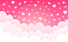 Cartoon Clouds On Hearts. Vale...