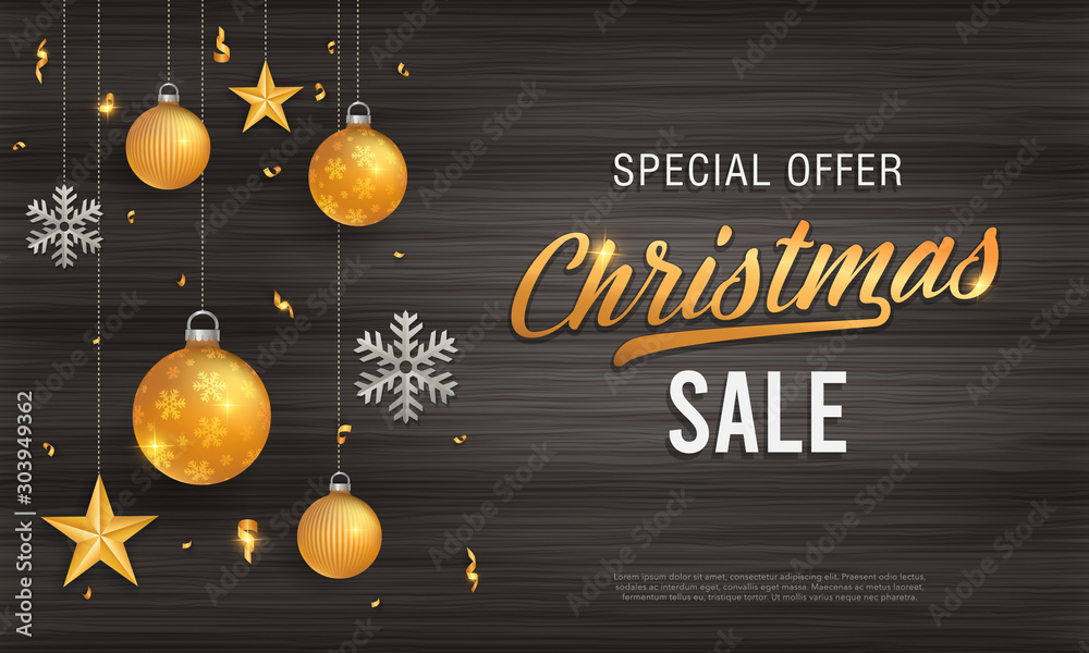 Fototapety, obrazy: Christmas sale vintage black wood background banner with glitter gold elements, snowflakes, stars