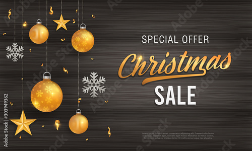 Cuadros en Lienzo  Christmas sale vintage black wood background banner with glitter gold elements,