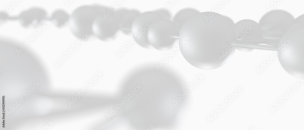 molecular net background, abstract futuristic background technology concept white color. 3d illustration