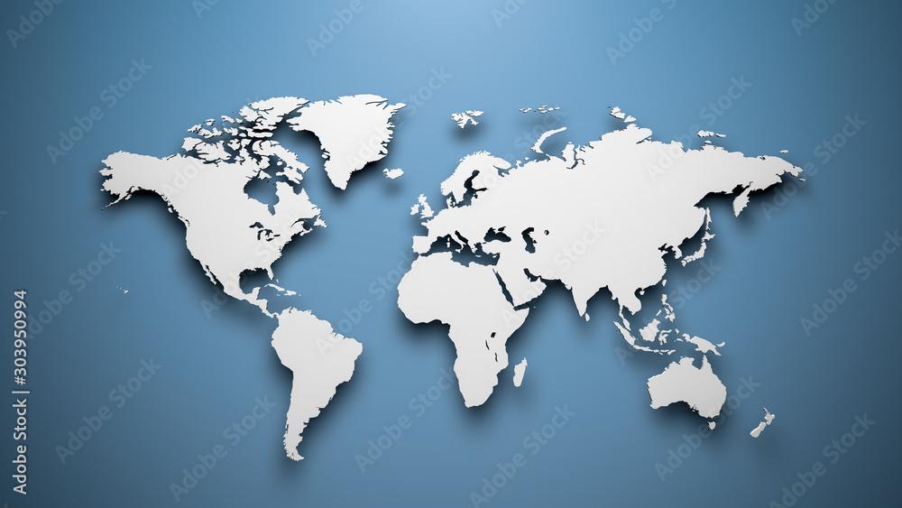 World map on blue background