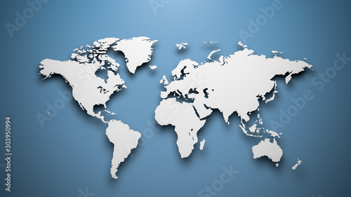 Obraz na plátně World map on blue background