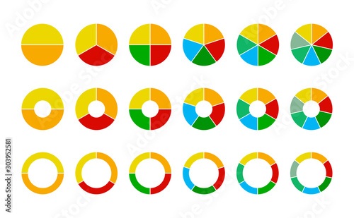 Set of wheel business chart icons in a variety of segments isolated on white Tableau sur Toile