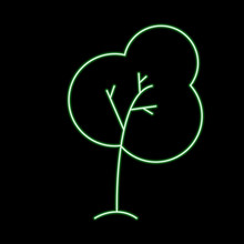 Vector Modern Concept Green Tree On Black Background