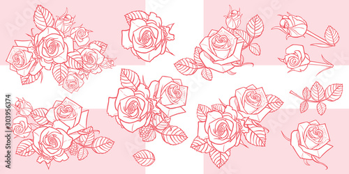 Obraz Vector illustration monochrome roses and leaves elements. Perfect for greeting cards and invitation cards for romantic occasions. Easily do light background watermarks or gold stamping. - fototapety do salonu