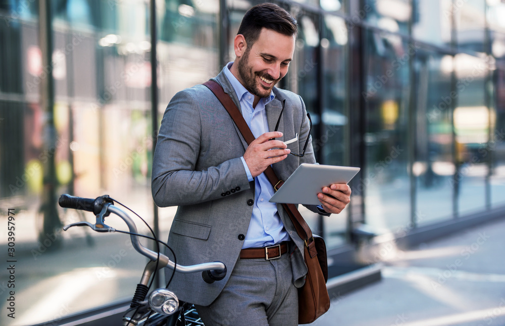 Fototapeta I have a vision. Happy businessman on the way to office got an idea. Business, education, lifestyle concept