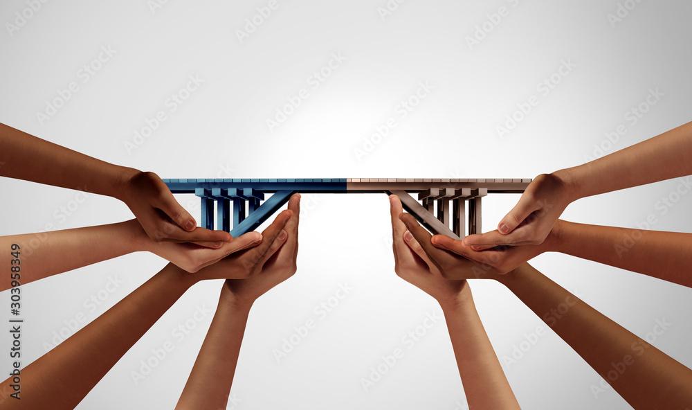 Fototapeta Group Bridge Concept - obraz na płótnie