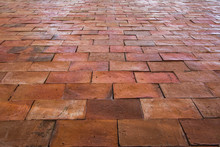 Old Red Brown Brick Floor Pattern Texture.