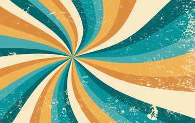 retro starburst sunburst background pattern and grunge textured vintage color palette of orange yellow and blue green in spiral or swirled radial striped vector design