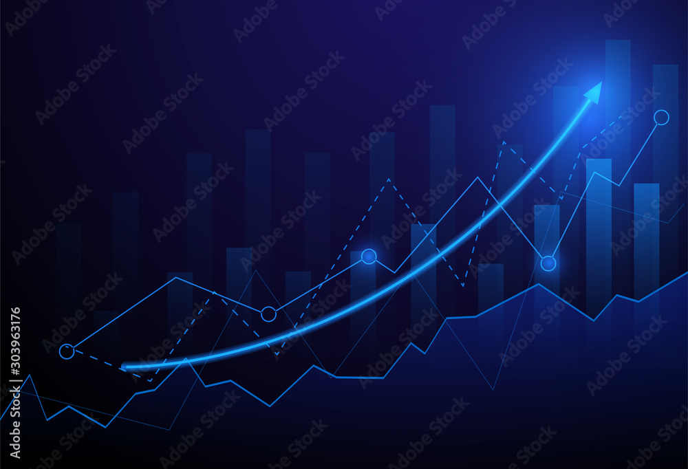 Fototapety, obrazy: Business candle stick graph chart of stock market investment trading on blue background. Bullish point, Trend of graph. Eps10 Vector illustration.