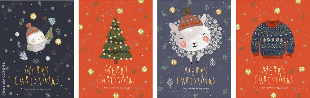 Fototapeta Merry Christmas and a happy new year! Vector illustrations for the winter holidays: cute animals and a bird in a Santa Claus hat, a knitted sweater, christmas tree.Drawings for card or postcard