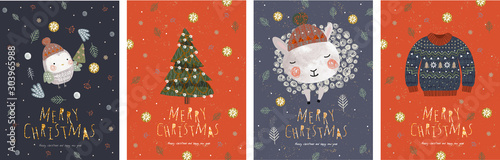 Merry Christmas and a happy new year! Vector illustrations for the winter holidays: cute animals and a bird in a Santa Claus hat, a knitted sweater, christmas tree.Drawings for card or postcard  - 303965988