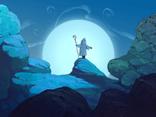 Original Fantasy Hand Drawn Illustration Of Beautiful Moonlit Background With A Little Figure In A Cloak Standing In Front On A Stone