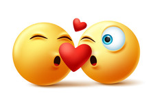 Emoticon Or Emoji Of Couple Kissing Faces Vector Concept. Valentines Emojis Kissing And In Love With Heart Element In White Background. Vector Illustration.