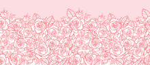 Vector Pink Monochrome Roses A...