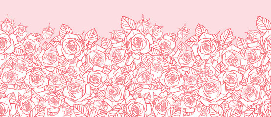 Vector pink monochrome roses and leaves outlines horizontal border. Perfect for greeting cards and invitation cards.