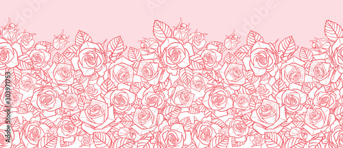 Fototapeta Vector pink monochrome roses and leaves outlines horizontal border. Perfect for greeting cards and invitation cards. obraz