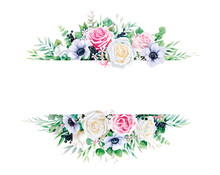 Greenery, White And Pink Rose With Branches Frame Border On White Background. Beautiful Template For Invite Or Greeting Card, Banner. All Elements Are Isolated And Editable.