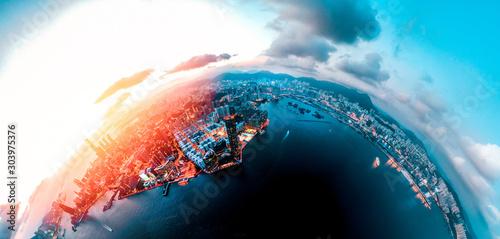 Obraz Hong Kong Cityscape view from high angle - fototapety do salonu