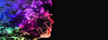 抽象的な煙で描いた女性の横顔シルエット