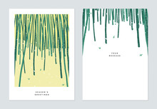 Season Greetings Card Template Design, Snow Over Bamboo Forest On Small Hill
