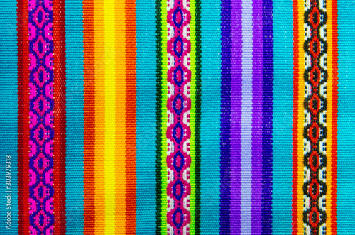 Fotografia, Obraz Vibrant colors of a traditional Andes textile on the local art and craft market of Cusco, Peru