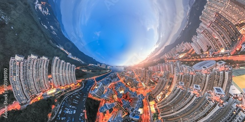 Foto auf AluDibond Blaue Nacht Hong Kong Architectures view from high angle