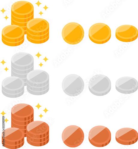 Photo 金貨、銀貨、銅貨のイラストセット
