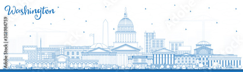 Outline Washington DC USA City Skyline with Blue Buildings. Tableau sur Toile