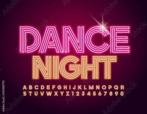 Photo Vector illuminated Emblem Dance Night with modern glowing Alphabet
