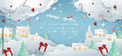 Merry christmas composition in paper cut style.Santa Claus on the sky Vector illustration. - 303985335