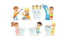 Little Kids Taking Care Of Tooth Purity Brushing It With Toothbrush Vector Illustrations Set