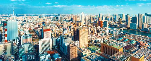 Vászonkép Aerial view of the cityscape of Tokyo, Japan near Tsukiji