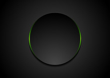 Black Abstract Circle Shape With Green Glowing Light Tech Background. Vector Neon Corporate Design