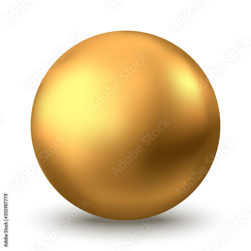 Cuadros en Lienzo Gold sphere or oil bubble isolated on white background.
