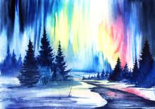 Watercolor Winter Landscape. N...