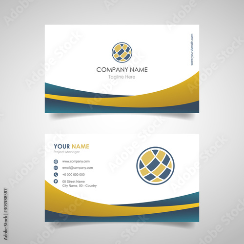 Cuadros en Lienzo  name card business design template with front and back cover design with gold an
