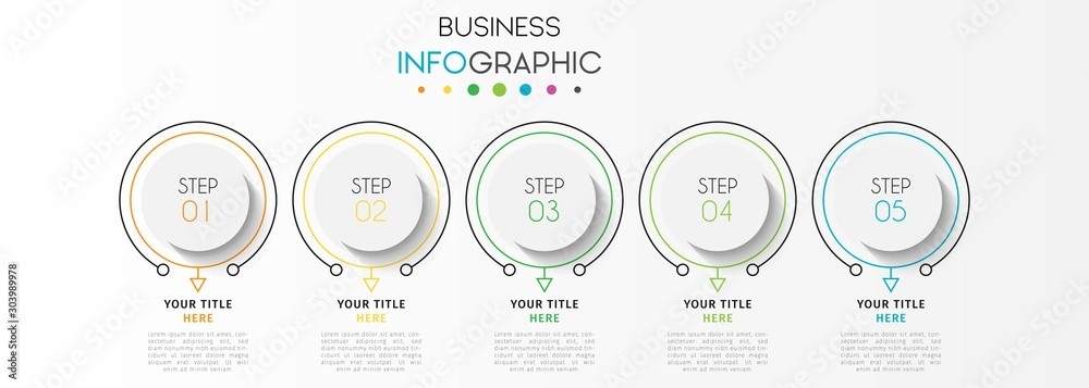 Fototapeta Vector infographic design template with 5 options or steps. Can be used for process diagram, workflow layout, info graph, annual report, flow chart.