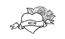 Heart With Wording Mom Vector By Hand Drawing.Beautiful Tattoo On White Background.Graphic Art Highly Detailed In Line Art Style.Red Heart With Ribbon Retro For Wallpaper Or Tattoo.