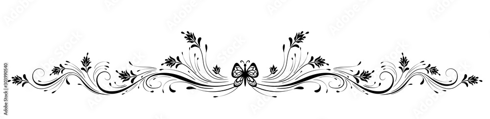 Fototapeta Vintage floral ornament with butterfly for greeting card isolated on white background