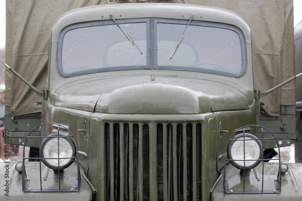 Fototapety, obrazy: Close-up of military transport. Soviet 1960-th. Logo removed