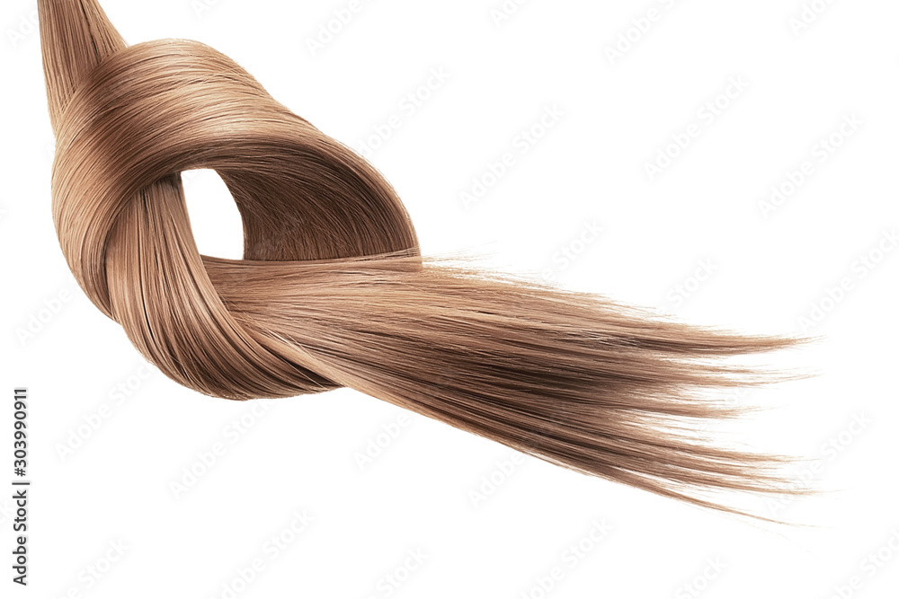 Fototapety, obrazy: Brown hair tied in knot on white background, isolated