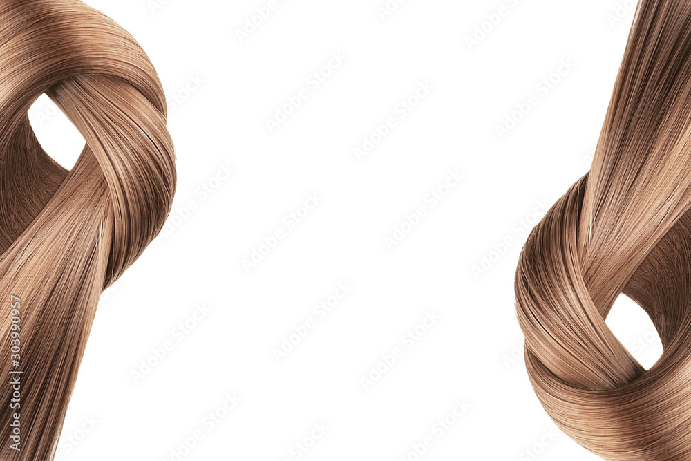 Fototapety, obrazy: Brown hair tied in knot on white background, isolated. Copy space