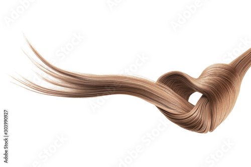 Brown hair knot in shape of heart, isolated on white background