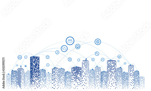 Obraz Communication and networking in a digital society. Sky background. Future city or smart city concept. - fototapety do salonu